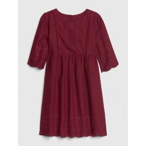 Kids Eyelet Scalloped Dress