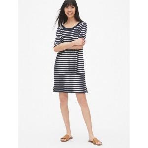 Soft Slub Elbow-Length T-Shirt Dress
