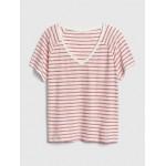 Relaxed Slub Stripe V-Neck T-Shirt