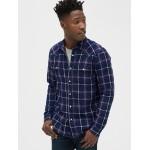 Plaid Denim Western Shirt in Slim Fit