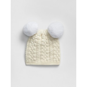 Baby Pom Cable-Knit Beanie