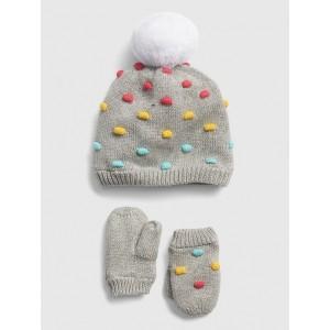Baby Popcorn-Knit Beanie Set