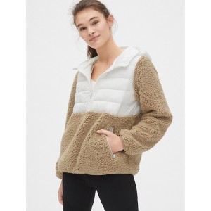 Mix-Fabric Sherpa Half-Zip Hoodie