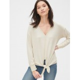 Softspun Tie-Front V-Neck Top
