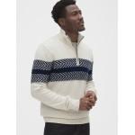 Textured Chest-Stripe Quarter-Zip Sweater