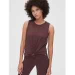 GapFit Brushed Tech Jersey Knot-Hem Tank Top