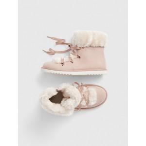 Kids Faux-Fur Lace-Up Booties