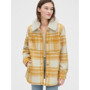 Plaid Wool-Blend Shirt Jacket with Detachable Sherpa Collar