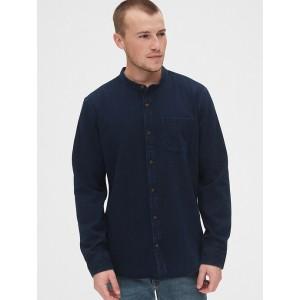 Textured Indigo Band Collar Shirt