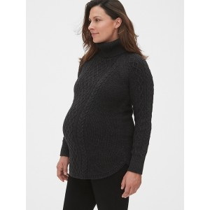 Maternity Cable-Knit Turtleneck Sweater