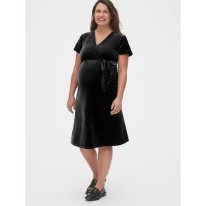 Maternity Velvet Faux-Wrap Dress