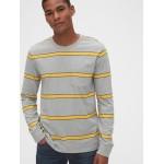 Long Sleeve Stripe Pocket T-Shirt