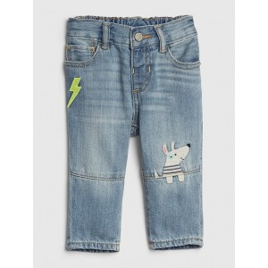 Baby Fleece-Lined Dog Applique Straight Jeans