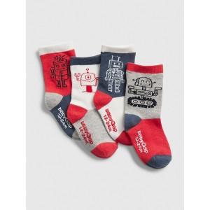 Toddler Robot Crew Socks (4-Pack)