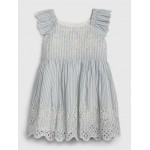 Baby Eyelet Pinstripe Flutter Dress
