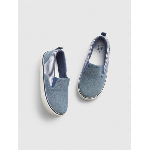 Toddler Chambray Stripe Slip-On Sneakers