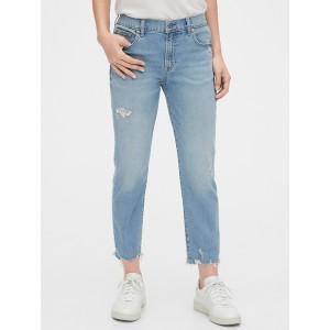 Mid Rise Destructed Girlfriend Jeans