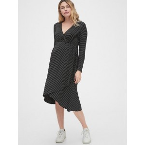 Maternity Midi Wrap Dress in Rayon