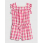 Toddler Plaid Romper With Ruffles