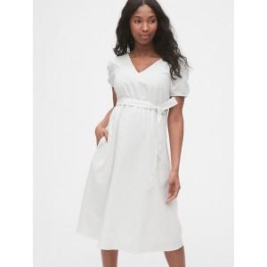 Maternity Linen-Cotton V-Neck Midi Dress
