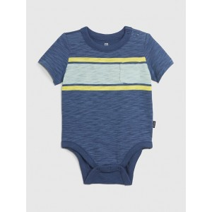 Baby Short Sleeve Striped  Bodysuit