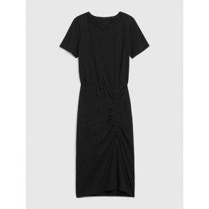 Short Sleeve Ruched Midi Dress