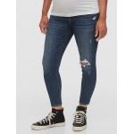 Maternity Inset Panel Destructed Skinny Jeans