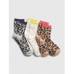 Kids Leopard Print Crew Socks (3-Pack)