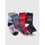 Toddler Firetruck Crew Socks (4-Pack)