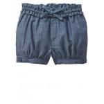 Chambray ruffle bubble shorts