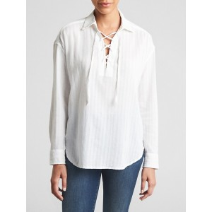 Lace-Up Shirt in Weave