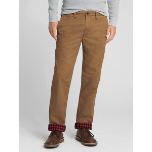 Flannel-Lined Twill Pants in Straight Fit