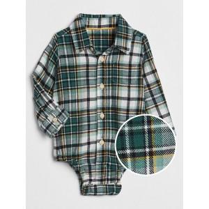 Plaid Button-Up Bodysuit