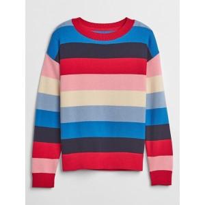 Stripe Drop-Shoulder Crewneck Sweater