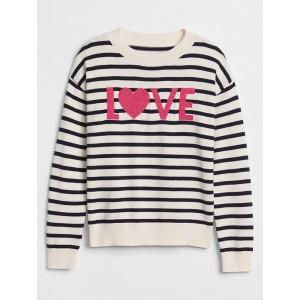 Stripe Intarsia Love Crewneck Sweater