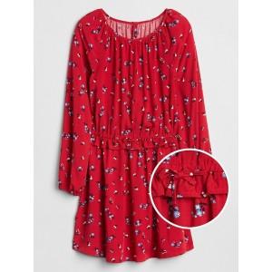 Print Ruffle Dress in Rayon