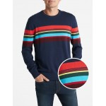 Mix-Stripe Crewneck Pullover Sweater