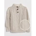 Cable-Knit Mockneck Sweater