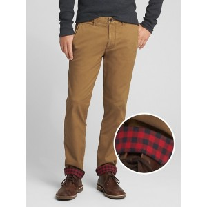 Flannel-Lined Twill Pants in Slim Fit