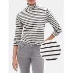 Stripe Long Sleeve Drop-Shoulder Turtleneck T-Shirt