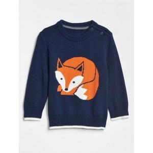 Intarsia Bear Crewneck Sweater