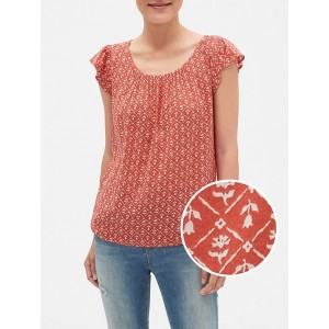 Floral Flutter Top in Cotton-Rayon
