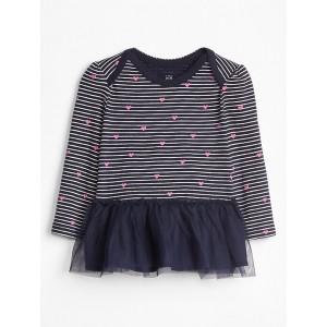 Stripe Tulle-Hem Long Sleeve T-Shirt