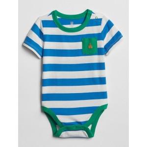 Stripe Pocket Short Sleeve Bodysuit