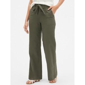 Tie-Belt Wide-Leg Pants