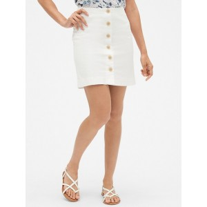 Button-Front Skirt in Twill