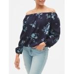 Print Blouson Sleeve Off-Shoulder Top in Weave