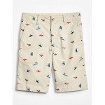 Kids Flat Front Shorts in Twill