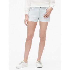 Mid Rise 3&#34 Stripe Denim Shorts