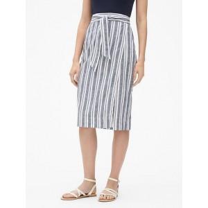 Stripe Wrap Midi Skirt in Linen-Cotton